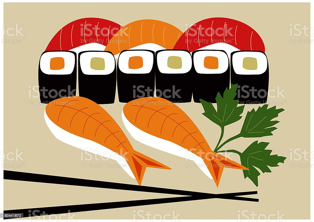 Sushi plate royalty-free stock vector art