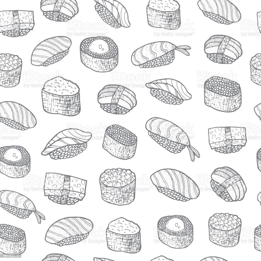 Kleurplaten Koken En Eten.Sushi Ingesteld Patroon Aziatisch Eten Japans Koken Kleurplaat Voor