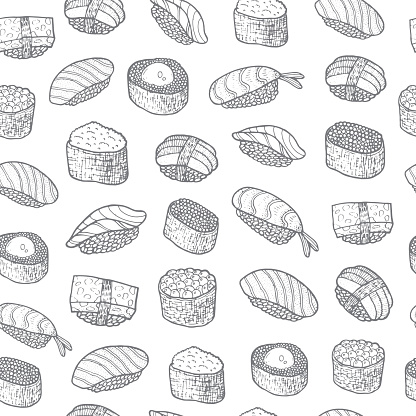 Kleurplaten Thema Eten En Drinken.Sushi Ingesteld Patroon Aziatisch Eten Japans Koken