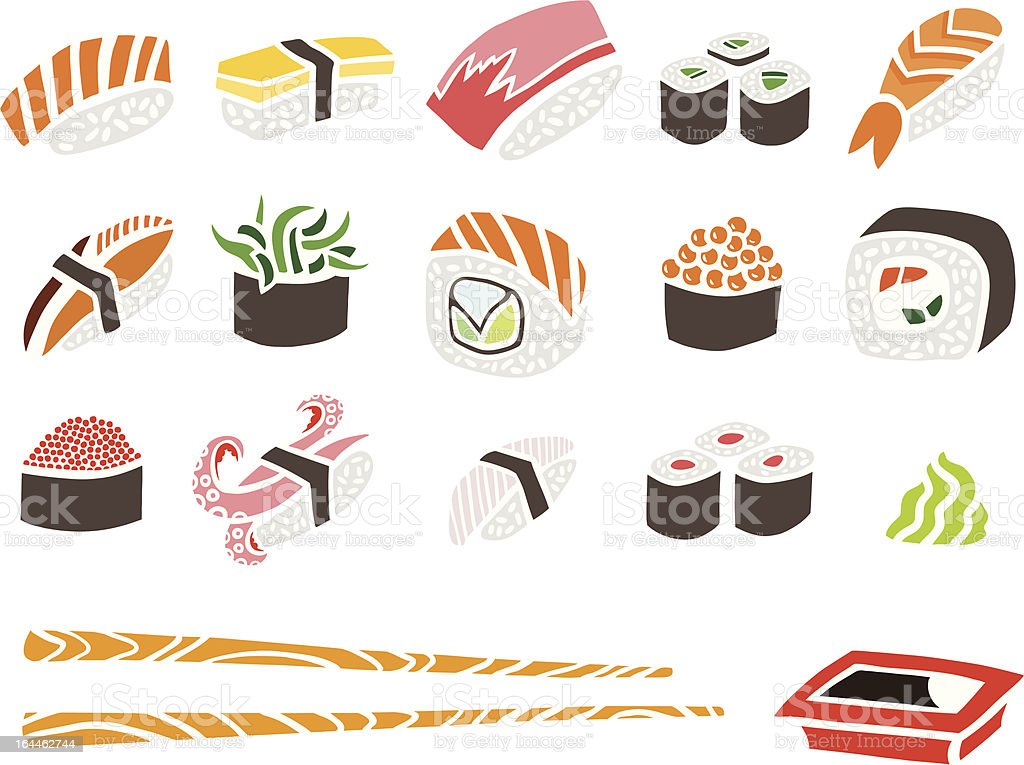 Sushi Set with Chopsticks royalty-free stock vector art