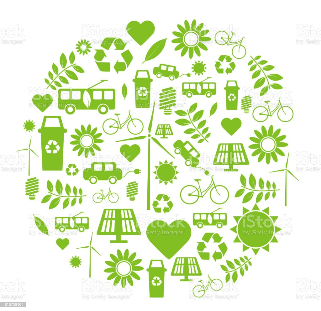 Sustainability Ecofriendly Symbols Recycling And Green Energy Stock