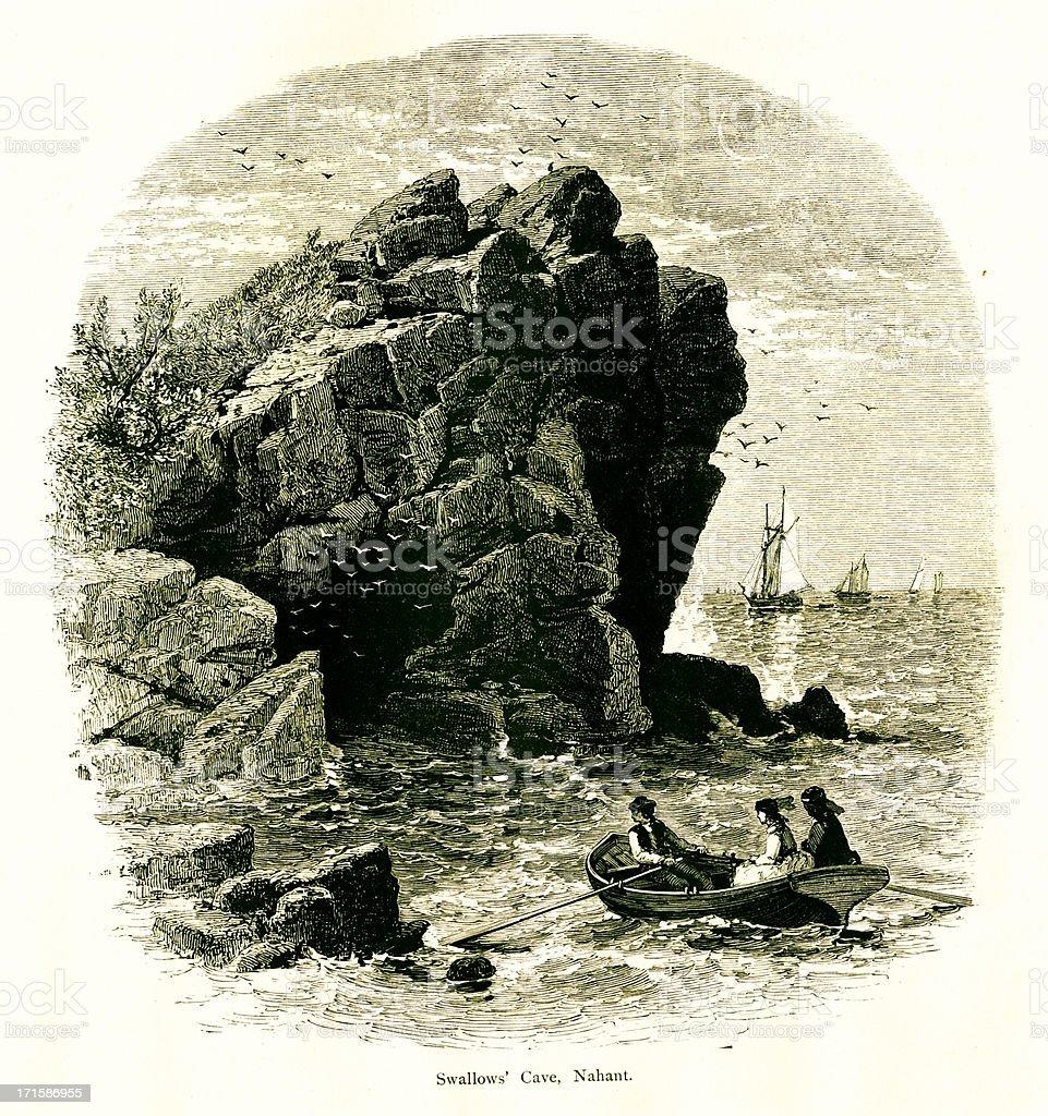 Swallow Cave, Nahant, Massachusetts royalty-free stock vector art