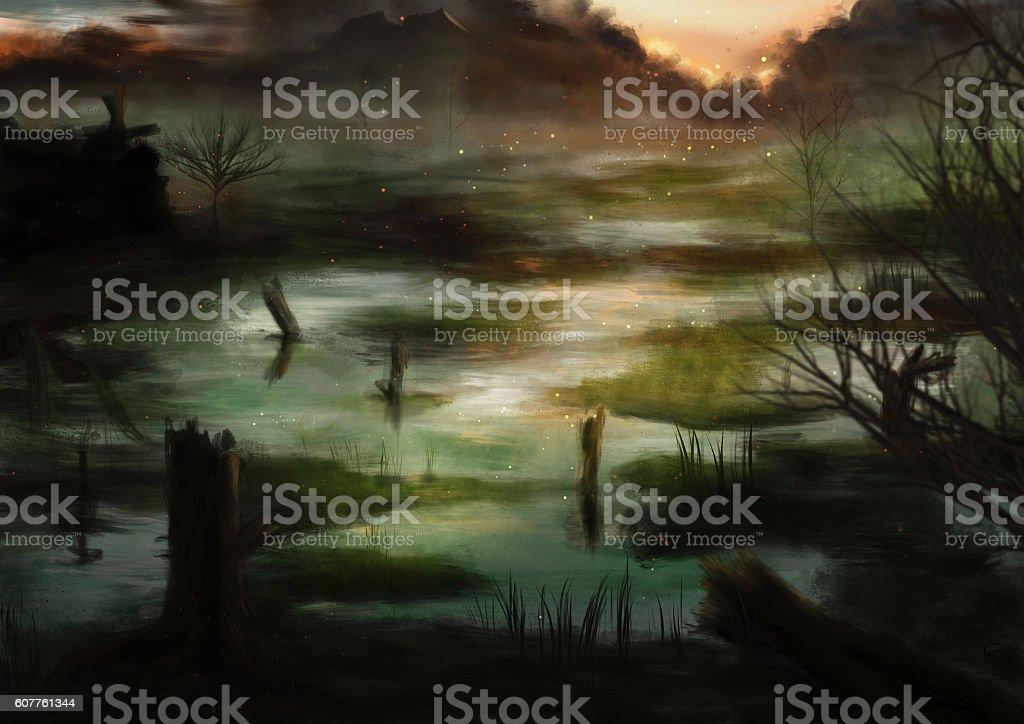 Swampland vector art illustration