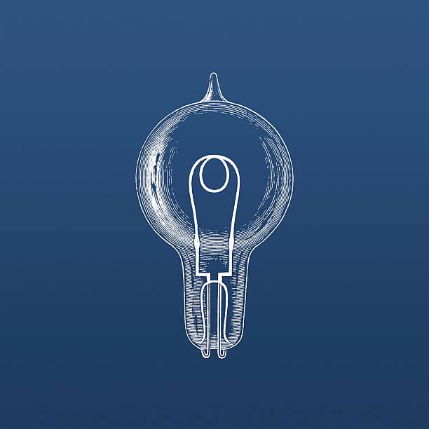 Swan's incandescent lightbulb on blue vector art illustration