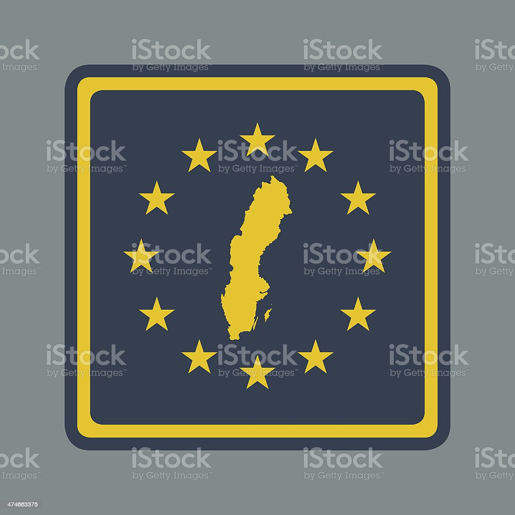 Sweden European flag button royalty-free stock vector art