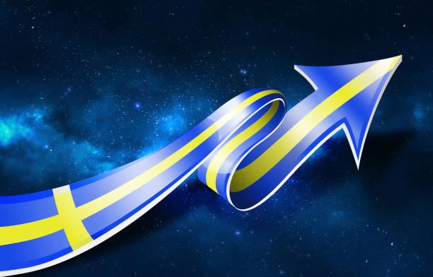 上向きの矢印でスウェーデン国旗 - スウェーデンの国旗点のイラスト素材/クリップアート素材/マンガ素材/アイコン素材
