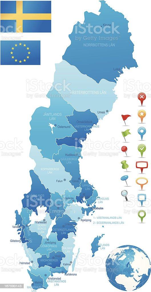 Sweden - hughly detailed map vector art illustration