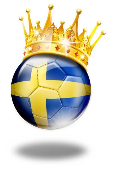スウェーデンの国旗と白で隔離クラウン スウェーデン サッカー ボール - スウェーデンの国旗点のイラスト素材/クリップアート素材/マンガ素材/アイコン素材