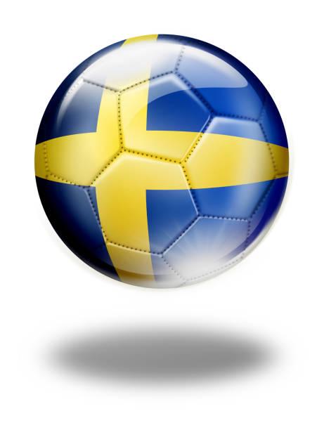 スウェーデンの国旗が白で隔離とスウェーデン サッカー ボール - スウェーデンの国旗点のイラスト素材/クリップアート素材/マンガ素材/アイコン素材