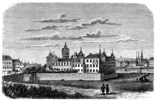 bildbanksillustrationer, clip art samt tecknat material och ikoner med sverige, stockholm, kungliga slottet på 1600-talet, exteriör vy - skyline stockholm