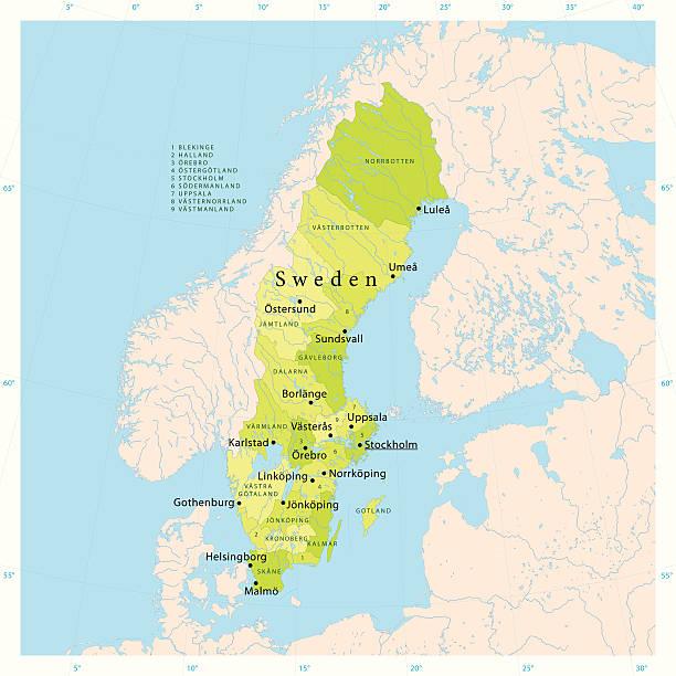 bildbanksillustrationer, clip art samt tecknat material och ikoner med sweden vector map - stockholm overview