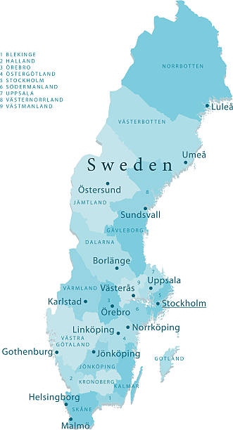 bildbanksillustrationer, clip art samt tecknat material och ikoner med sweden vector map regions isolated - norrbotten