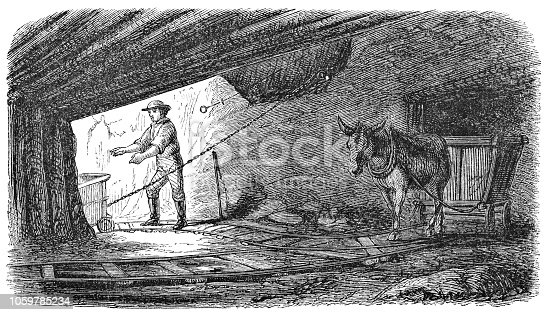 Iron mining at Swede's mine in Dover, New Jersey, United States of America (circa mid 19th century). Vintage etching circa mid 19th century.