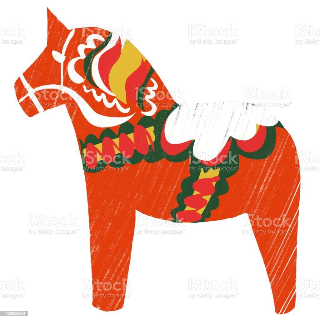 Swedish Dalia Horse - Royalty-free Art stock illustration
