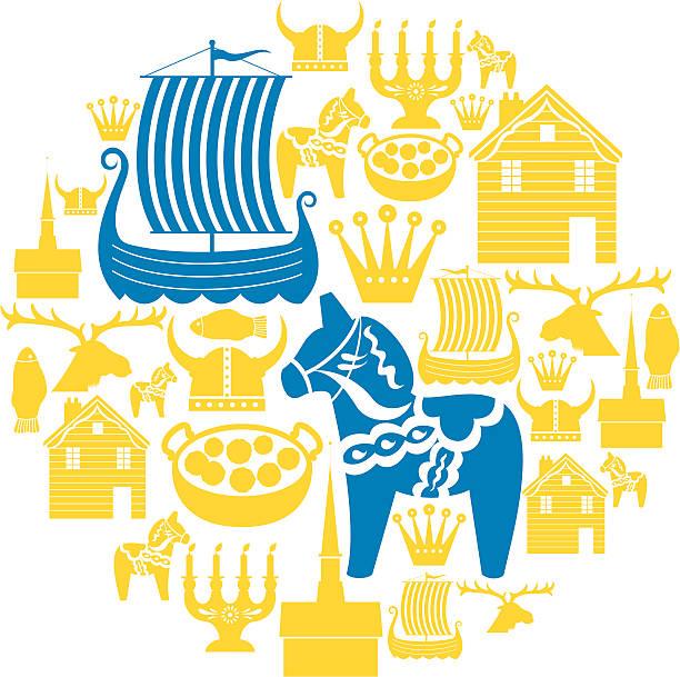 bildbanksillustrationer, clip art samt tecknat material och ikoner med swedish icon montage - stockholm