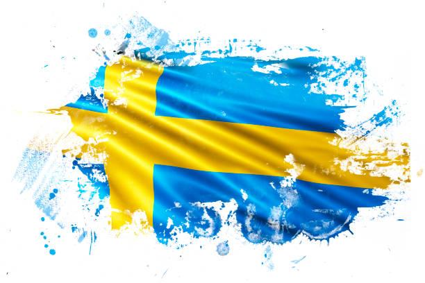ilustraciones, imágenes clip art, dibujos animados e iconos de stock de bandera del grunge de tinta sueco - bandera sueca
