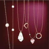 Golden jewellery chain with pendants & tassel