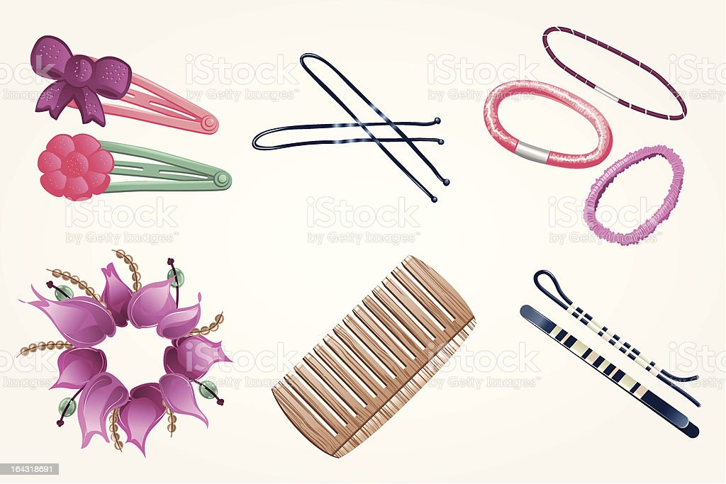 Sweet hair accessories vector art illustration