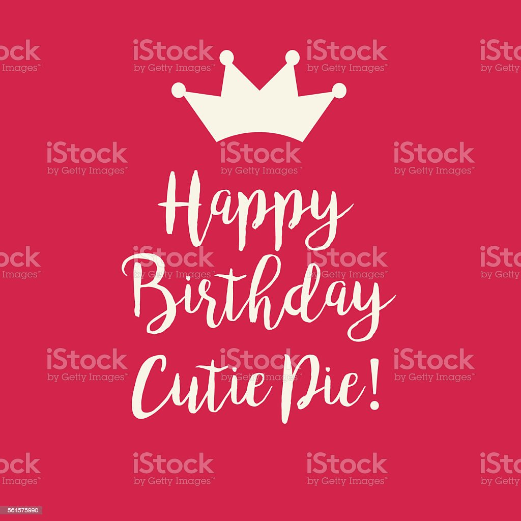 Sweet Red Pink Happy Birthday Card With Princess Crown Lizenzfreies
