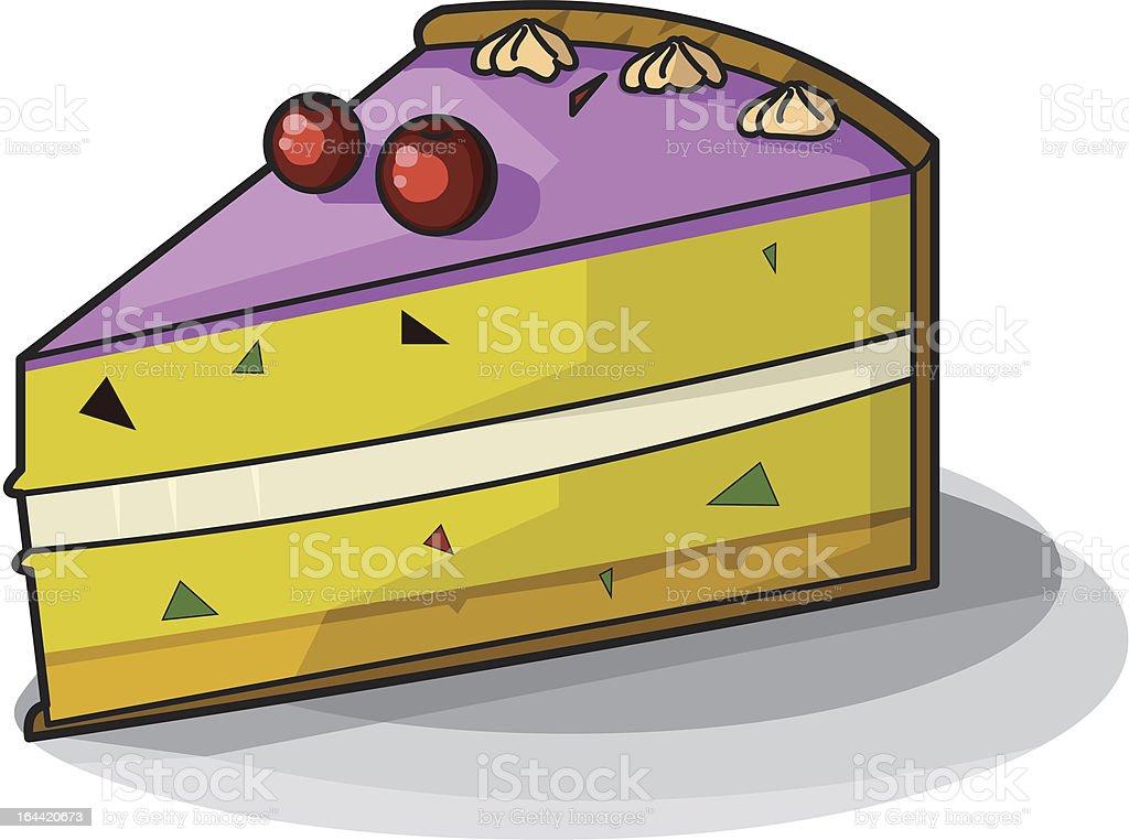délicieuse part de gâteau dessin animé stock vecteur libres de