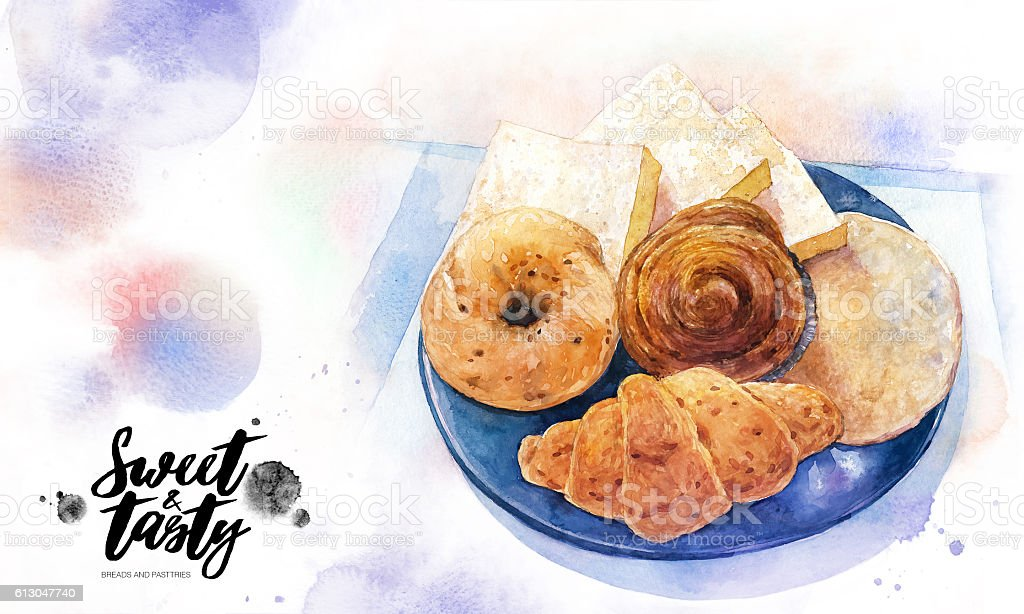 Sweet Tasty Breads And Pastries Water Color Painting Stock Illustration Download Image Now Istock