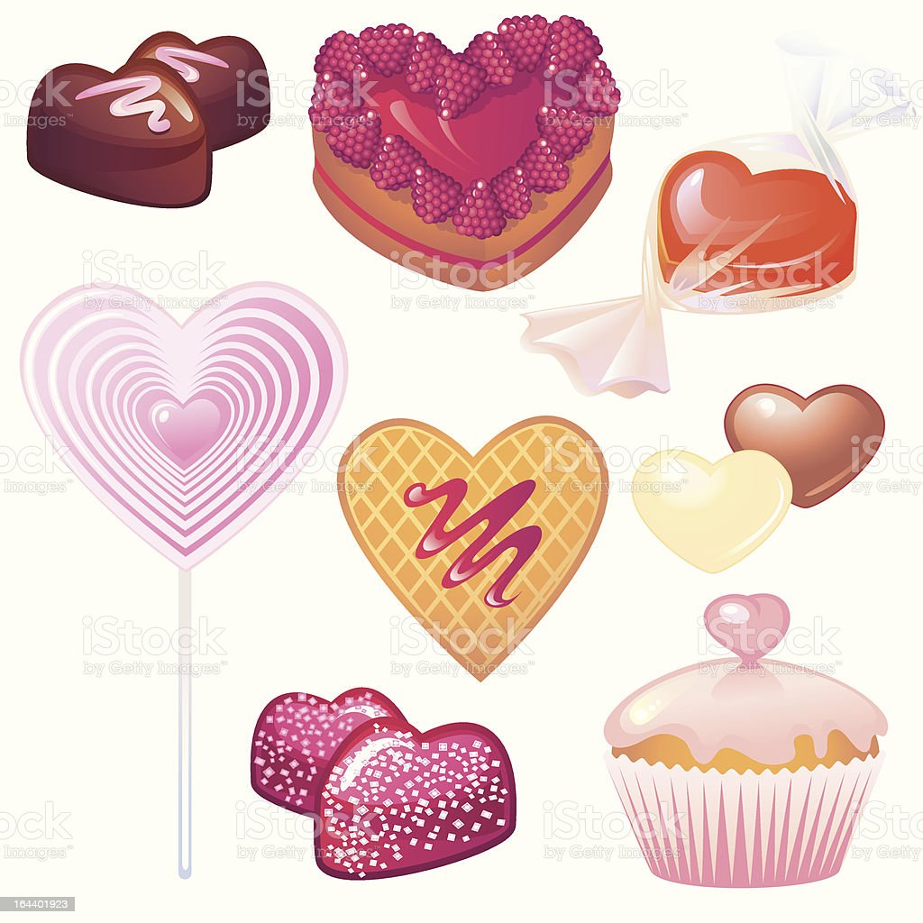 Sweets collection for Valentine's Day royalty-free sweets collection for valentines day stock vector art & more images of berry fruit