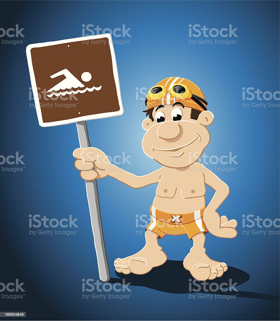 Swimmer Cartoon Man Swimming Sign royalty-free stock vector art