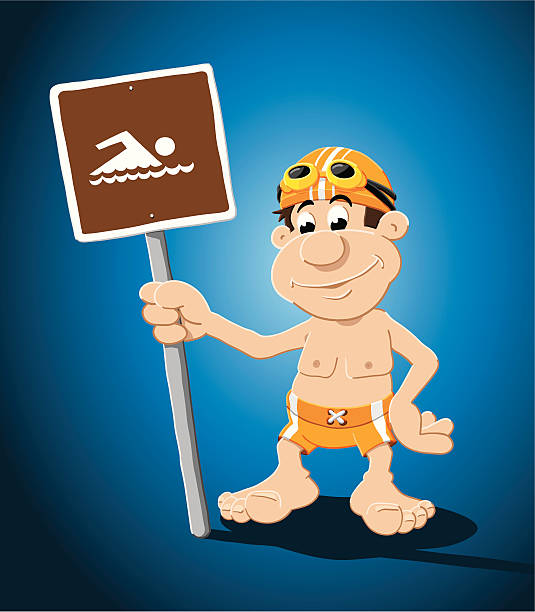 "Swimmer Cartoon Man Swimming Sign ""Vector Illustration of a swimmer, who is holding a swimming sign. The background is on a separate layer, so you can use the illustration on your own background. The colors in the .eps-file are ready for print (CMYK). Included files: EPS (v8) and Hi-Res JPG."" cartoon people sign stock illustrations"