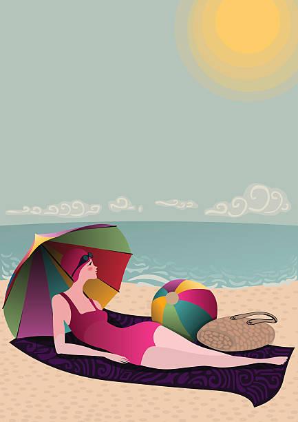 swimmer lady on sunny beach vector art illustration