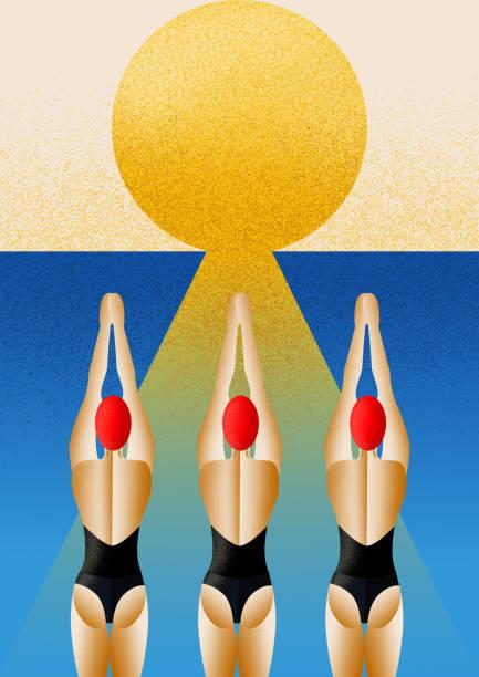 ilustrações de stock, clip art, desenhos animados e ícones de swimmers women at the start looking the sunrise. - jump pool, swimmer