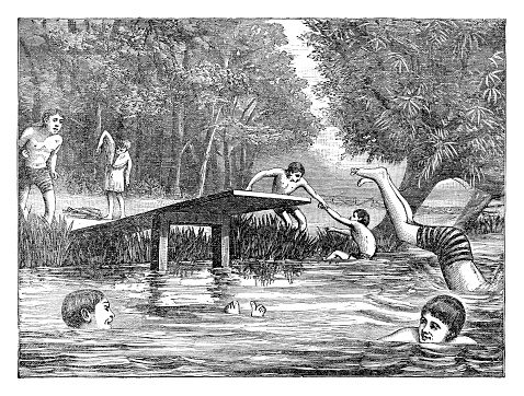 Swimming at the pond - 1890 Engraving