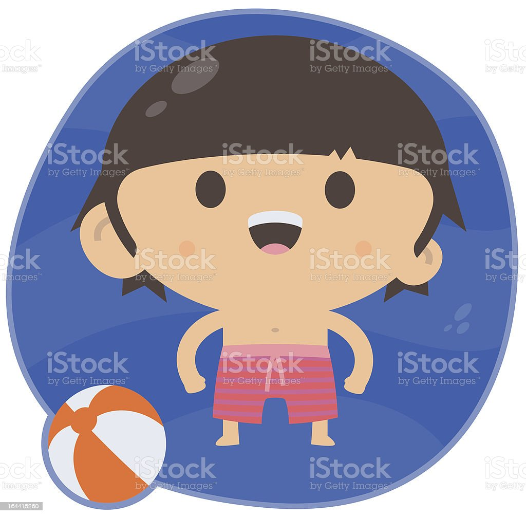 Swimming Boy with Beach Ball royalty-free stock vector art
