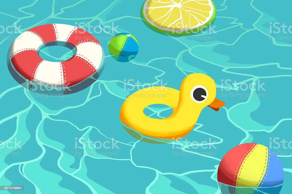 Swimming Pool and Float Child Toys vector art illustration