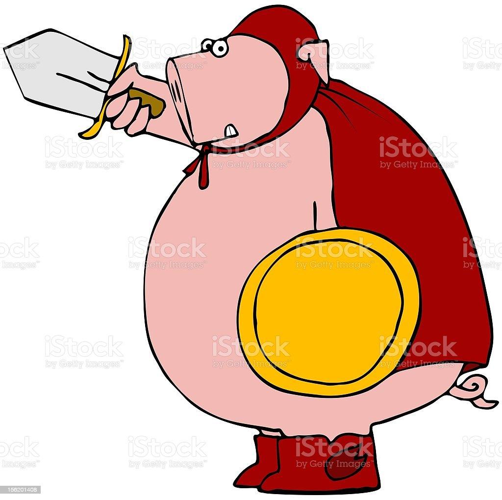 Swine Fighter vector art illustration