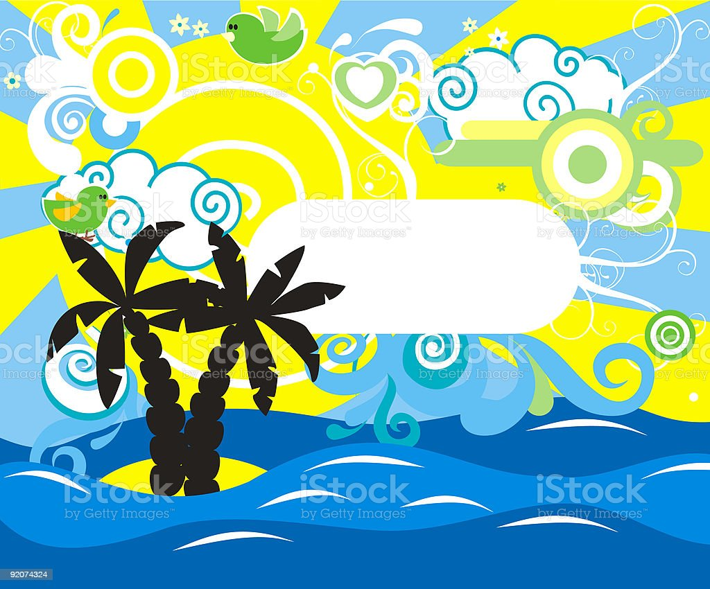 Swirling wave design with palm trees royalty-free stock vector art