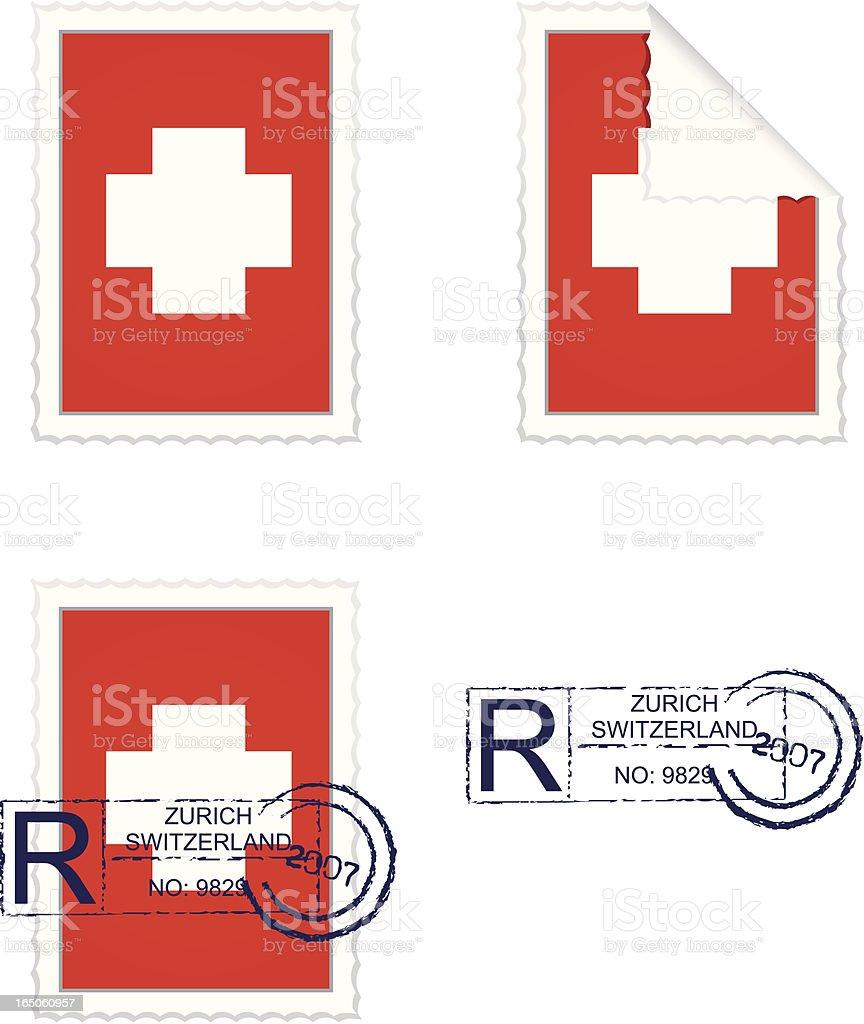 Swiss Flag Stamp Set royalty-free stock vector art
