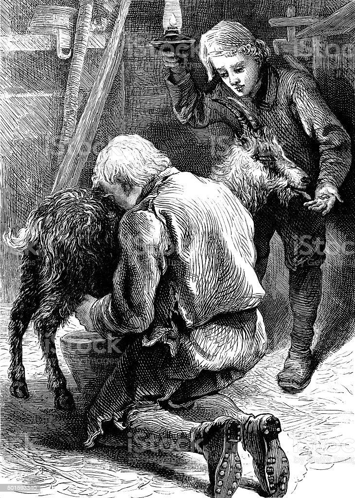 Swiss man milking a goat vector art illustration