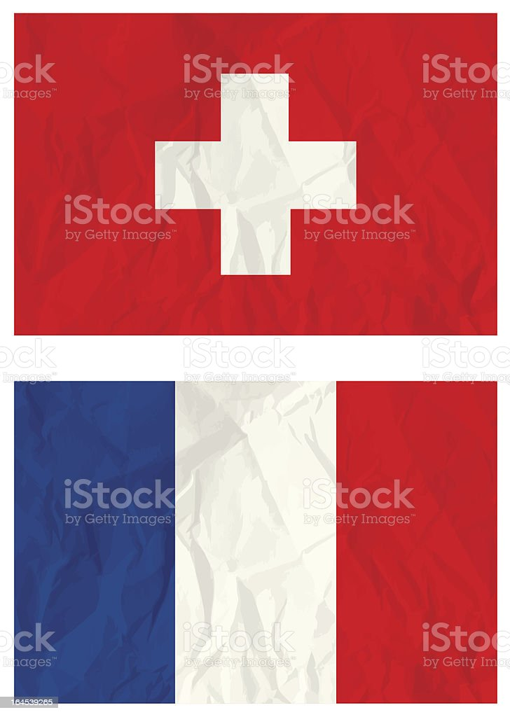 Switzerland and French flags royalty-free stock vector art