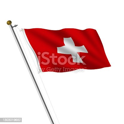 istock Switzerland flagpole 3d illustration on white with clipping path 1303019652