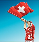 Switzerland Waving Flag Soccer Fan