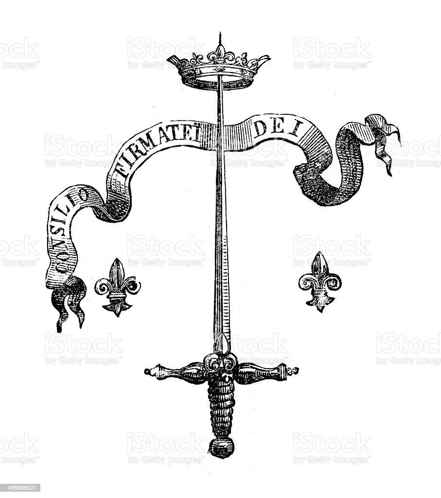 Sword and Crown Motif vector art illustration