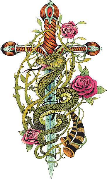 sword and snake color - snakes tattoos stock illustrations, clip art, cartoons, & icons