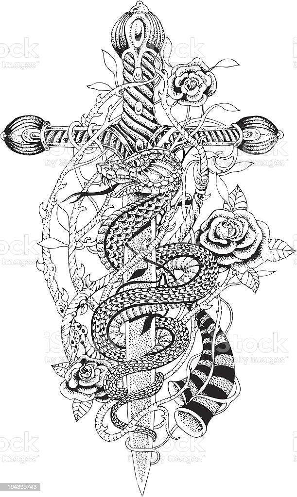 Sword and snake vector art illustration
