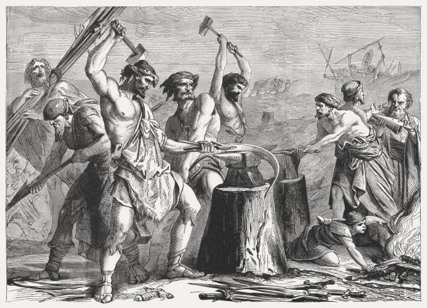 Swords into ploughshares (Isaiah 2, 4), wood engraving, published 1886 vector art illustration