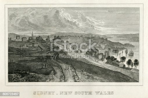 """An early 19th century view of Sydney (here spelled 'Sidney'), New South Wales, Australia, from """"A System of Geography, Popular and Scientific, or A Physical, Political, and Statistical Account of the World and its Various Divisions. Volume VI, Part II"""" by James Bell and published by A. Fullarton & Co., Glasgow, in 1838."""