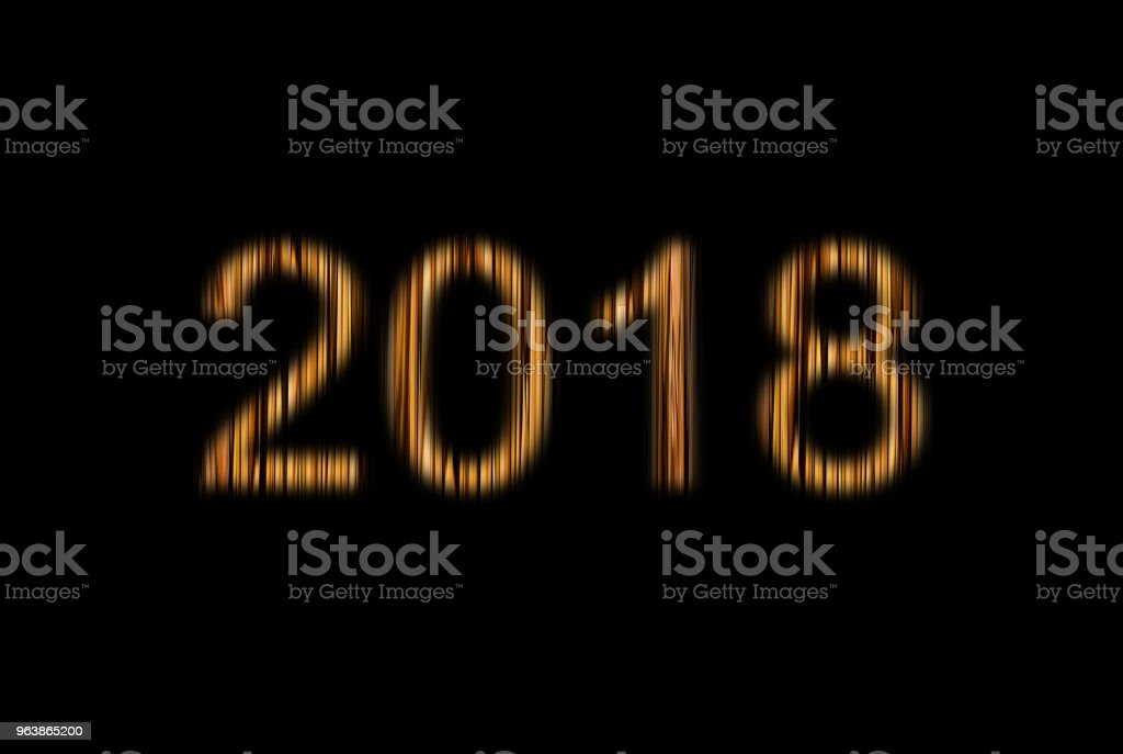 Symbol of the new year of Christmas 2018, glowing beige yellow figures two thousand and eighteen, the wood texture carved black background - Royalty-free Abstract stock illustration