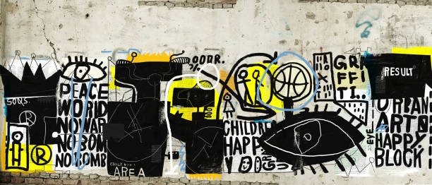 Symbolic image of graffiti that contains various characters and words Wall that is plastered street art stock illustrations