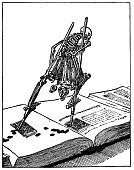 Symbolic trouble of writing - skeleton on nibs walking over a book
