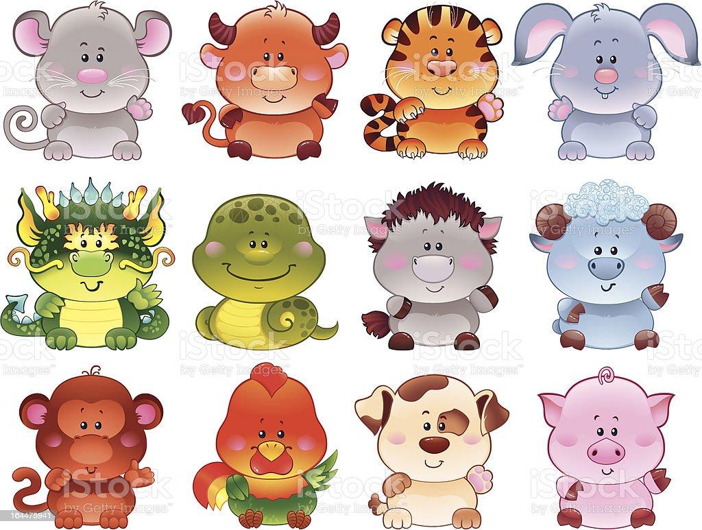 Symbols of Chinese horoscope. royalty-free stock vector art