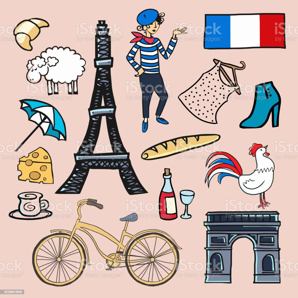 Symbols Of France Stock Vector Art More Images Of 2015 825891606